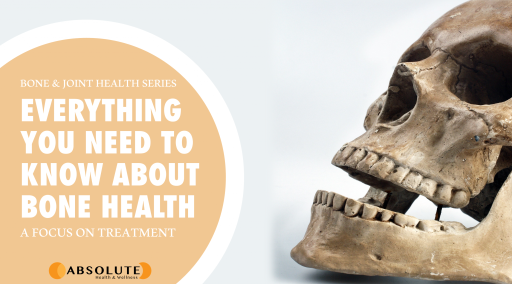 human skeleton with text bubble saying everything you need to know about bone health