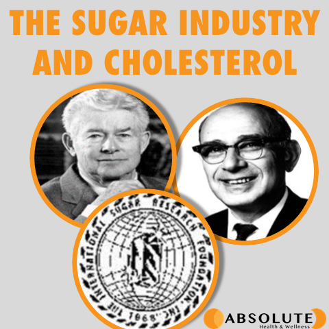 Picture of 2 men and logo of the international sugar research foundation showing how the sugar industry influenced our views on cholesterol