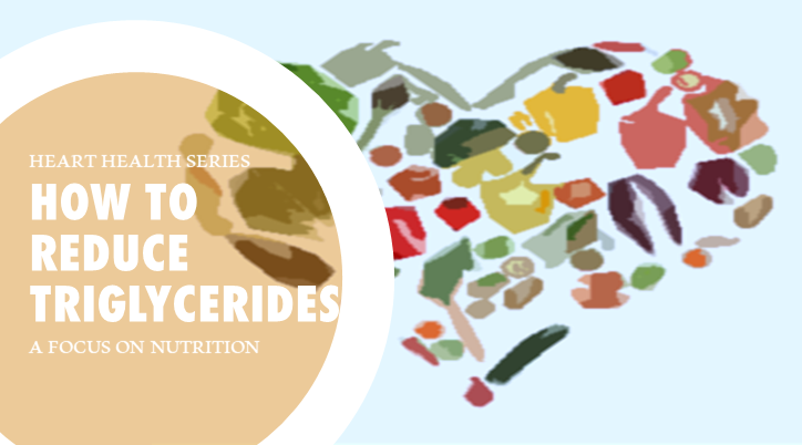 Picture of various foods in the shape of a heart that benefit heart health with a text bubble saying how to reduce triglycerides