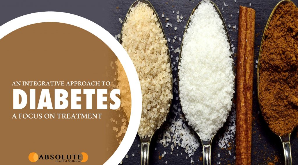 teaspoons with sugar and cinnamon with a text bubble saying an integrative approach to diabetes