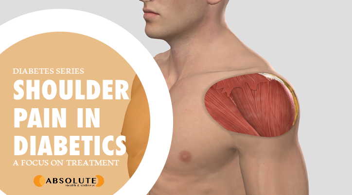 musculoskeletal model with shoulder muscles exposed and text bubble saying shoulder pain in diabetics
