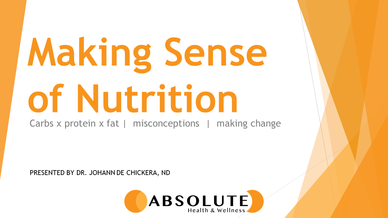 making sense of nutrition: carbs, protein, and fat presentation offered by Absolute Health and Wellness in Paris Ontario