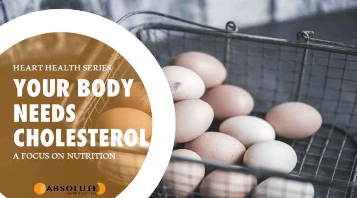 Basket of eggs on a counter with text bubble saying your body needs cholesterol
