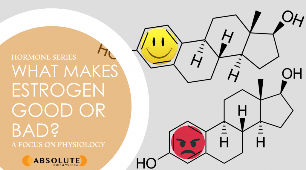 the molecular structures of the hormone estrogen, with a happy face on one and an angry face on the other with a text bubble saying what makes estrogen good or bad?