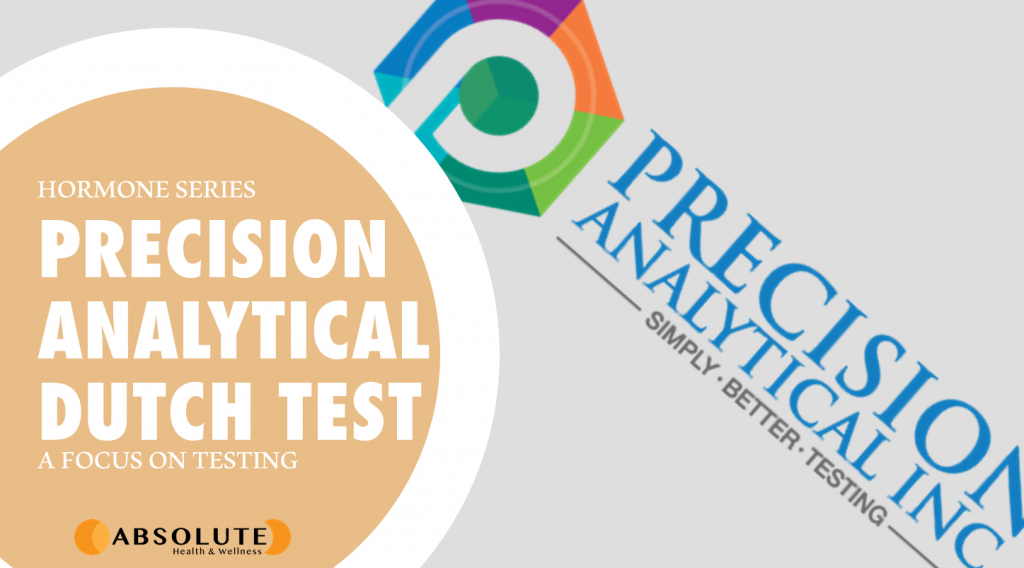 Precision Analytical logo with text bubble saying Precision Analytical Dutch Test which naturopaths use to test hormones