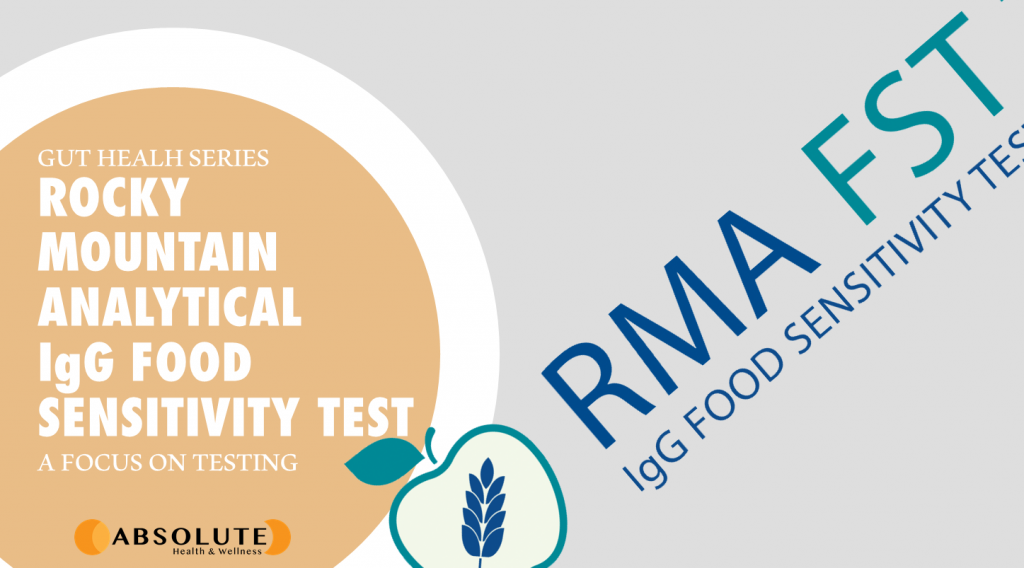 RMA FST logo with text bubble saying Rocky Mountain Analytical IgG Food Sensitivity Test which naturopaths use to test gut health