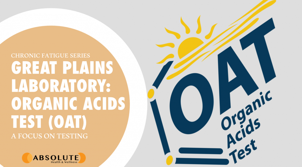 Organic Acids Test logo with text bubble saying Great Plains Laboratory: Organic Acids Test which naturopaths will use to test chronic fatigue