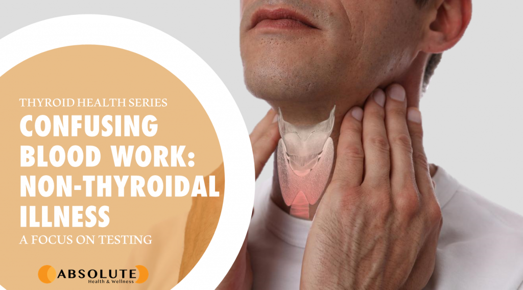 Man palpating his neck with thyroid gland superimposed on throat and text bubble saying confusing thyroid blood work: non-thyroidal illness