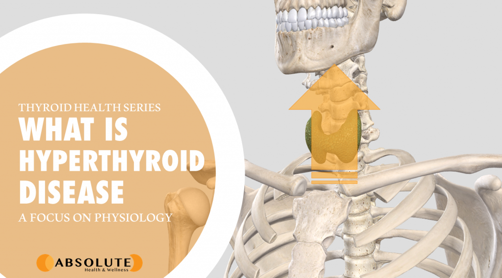 thyroid gland with arrow pointing upwards and text bubble saying what is hyperthyroid disease?