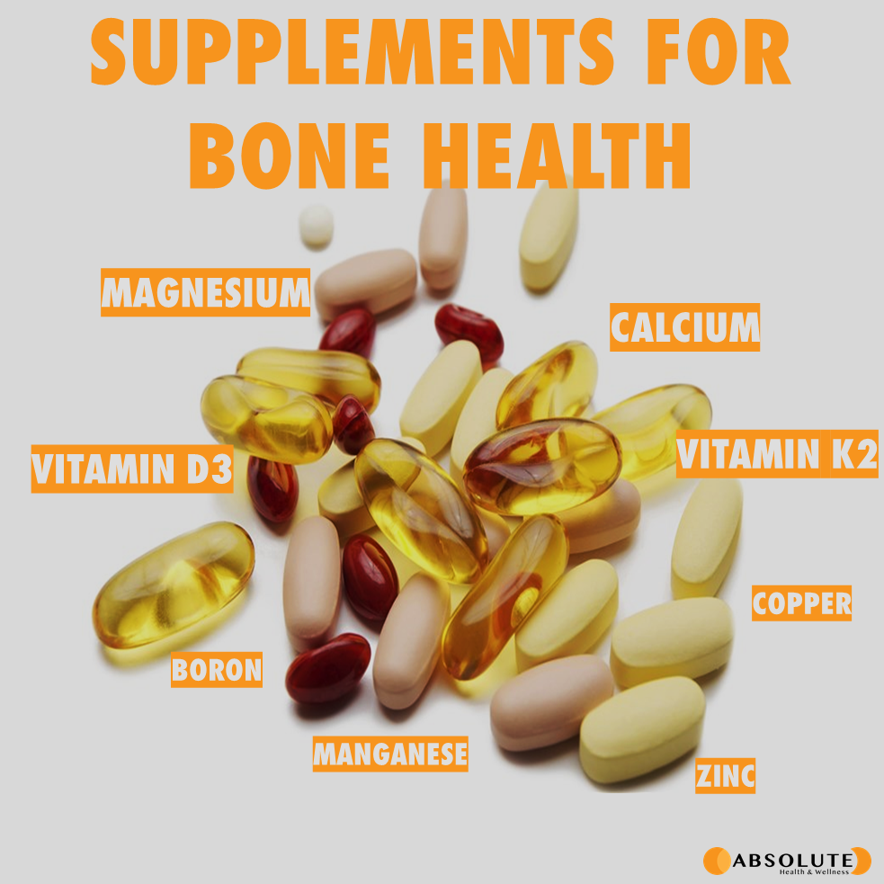 a pile of supplements used for bone health including magnesium, vitamin d3, boron, manganese, zinc, copper, vitamin k2, and calcium