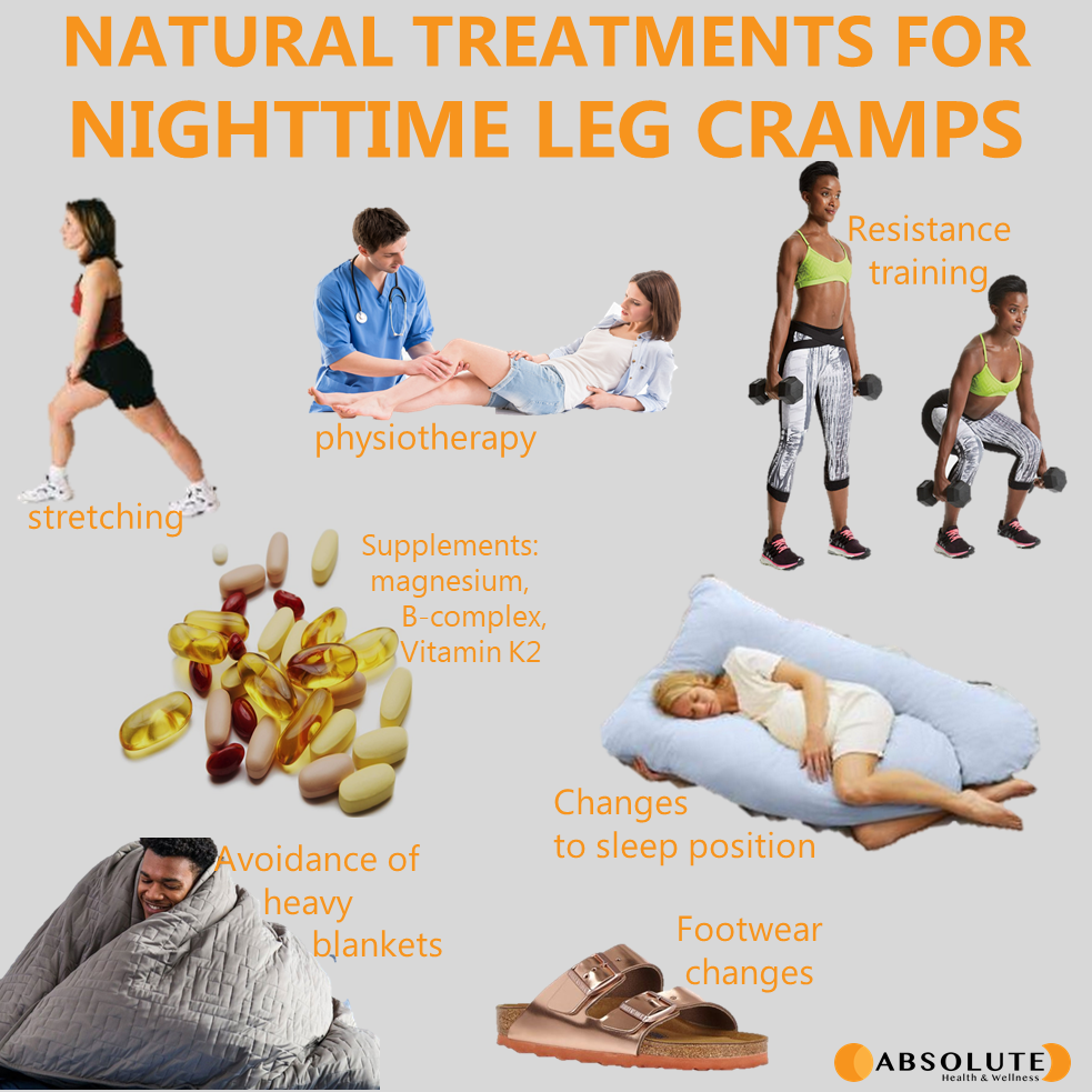 natural treatments for night time leg cramps include stretching, physiotherapy, resistance training, changes to sleep position, supplements, avoiding heavy blankets, and footwear changes